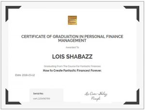 Certificate of completion for the course for fantastic finances